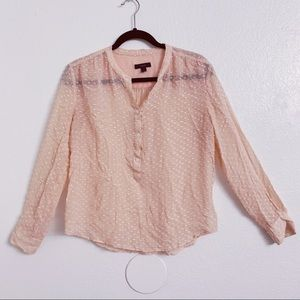 J.Crew Shear Coral Overstitched  Long Sleeve Top